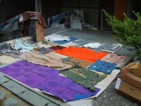 Some of the costumes drying up outside